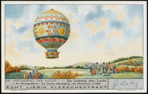 The first manned ascent - Pilatre de Rozier and the marquis d'Arlandes make history in a hot-air Montgolfiere