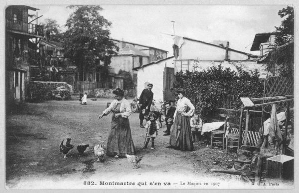 Montmartre: the Maquis, with a woman feeding chickens