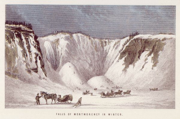 Montmorency Falls, near Quebec, Canada, frozen in winter Date: circa 1860