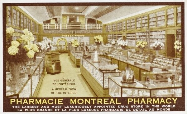 Montreal Pharmacy, Canada. Allegedly (according to this card) the largest (and most luxiously appointed) of its kind in the world!