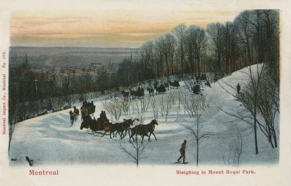Sleighing in Mount Royal Park, Montreal, Canada.  early 20th century