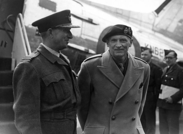 Field Marshal Viscount Montgomery pictured talking to Group Captain Hodgson at RAF Northholt after arriving from Berlin where he met with Marshal Sokolovsky and General Dratvin during tensions between the Soviet Union, US and UK in occupied Germany