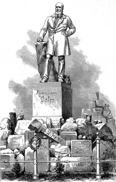 Engraving showing the monument to Friedrich Ludwig Jahn, the teacher, politican and 'father' of gymnastics, in Berlin, 1873