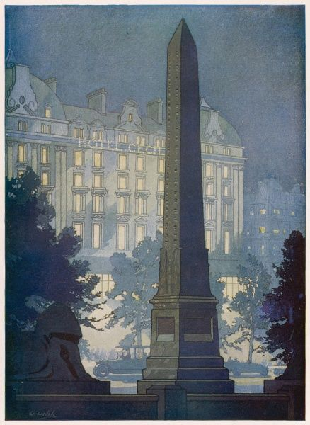Illustration showing the obelisk, Cleopatra's Needle on the Thames Embankment in Central London with the Hotel Cecil in the background