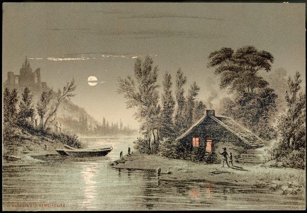 A sense of foreboding pervades as a man & boy hurry past a wooden shack with its red glowing windows to a boat moored on a river bank beneath a castle & moonlit sky