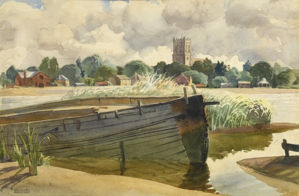 Moored boat with Christchurch Priory (at Christchurch, Dorset) visible in the background. Watercolour painting by Raymond Sheppard