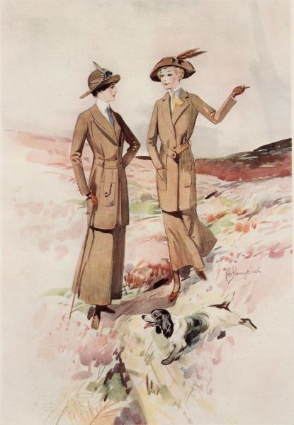 Watercolour illustration by Edmund Blampied showing two elegant ladies wearing shooting fashions