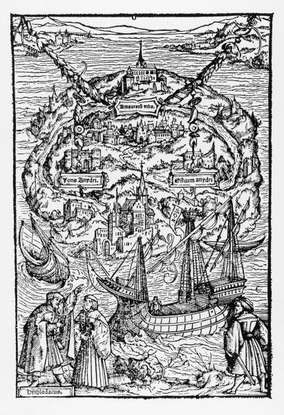 The imaginary island of UTOPIA, as described by Sir Thomas More