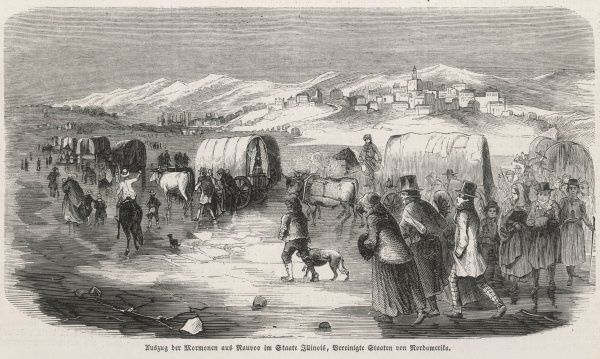 The Mormons leave Nauvoo, Illinois, heading West to Utah