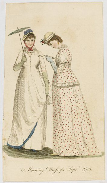 Two ladies in Morning Dress for September 1799 : one carries a tiny parasol while her companion reads a letter