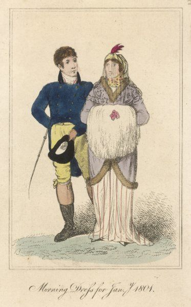 Man: blue D-B cut-away coat with stand-fall collar, top boots, breeches & cane. Woman: fur-trimmed pelisse, white dress with red stripes, turban & veil, swansdown muff