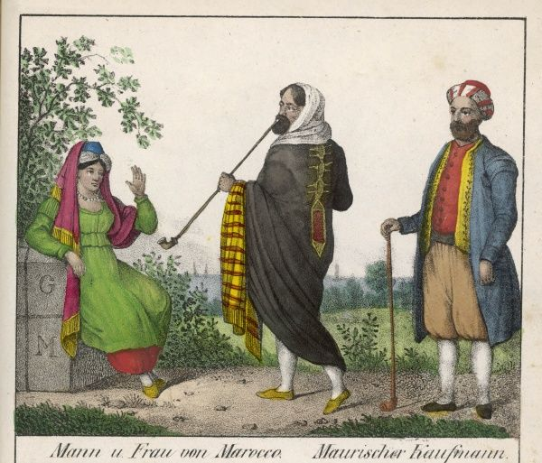 Moroccan man and woman, and a Moroccan merchant