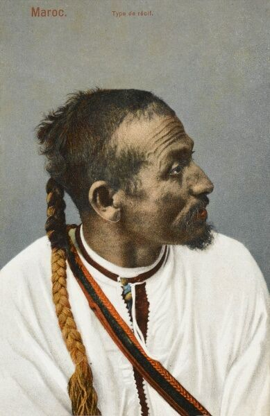 Moroccan - A Recif man with a dyed pigtail and white tunic