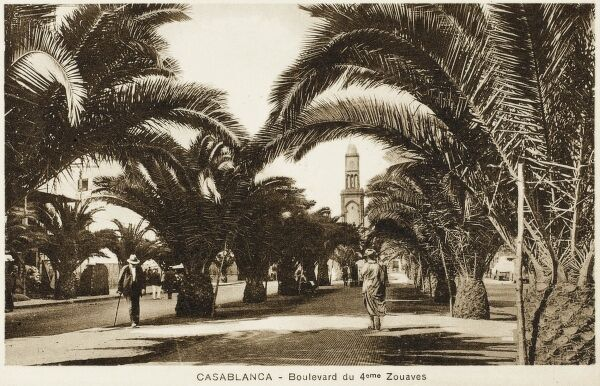 The Boulevard of the 4th Zouaves at Casablanca in western Morocco, located on the Atlantic Ocean. The capital of the Greater Casablanca region, Casablanca retains its historic position as the main industrial zone of the country