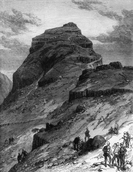 British soldiers inspect from afar the stronghold of Morosi, a chief of the Bapedi, in the rugged highland country of the Basutos in South Africa