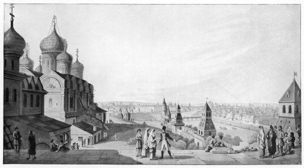 A view of Moscow made before the fire of 1812 which was started by the Russians in an attempt to hinder Napoleon's advance