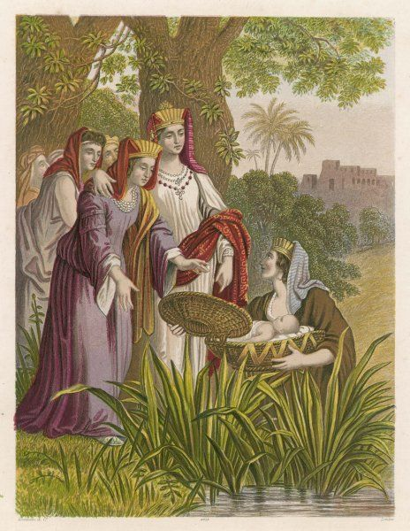 The infant Moses is found by Pharaoh's daughter, floating on the Nile in a basket