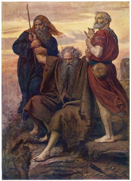 MOSES Hebrew prophet and lawgiver watches the Israelites defeat the Amalekites, his arms held up by Aaron and Hur to ensure success