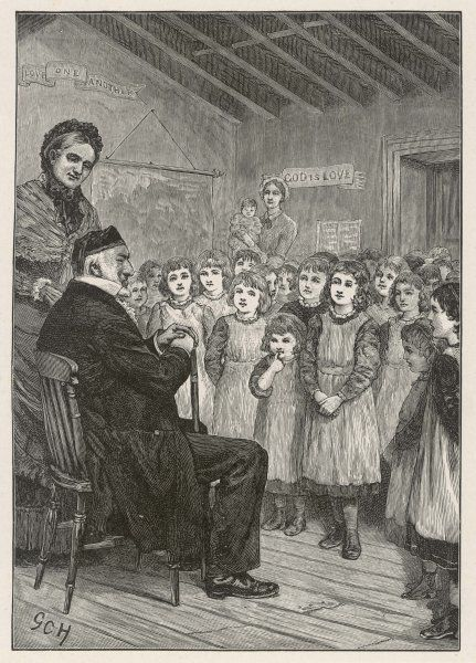 SIR MOSES MONTEFIORE British Jewish philanthropist, born in Italy, visiting an orphanage in Thanet