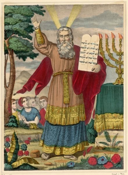 Moses exhibits the Tables of the Law on which the Ten Commandments are inscribed