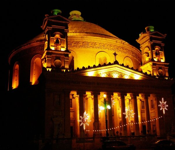 The Mosta Dome, Mosta, Malta, by night