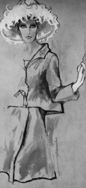 A suggested elegant outfit for a mother of the bride in 1962, drawn by Barbara Hulanicki
