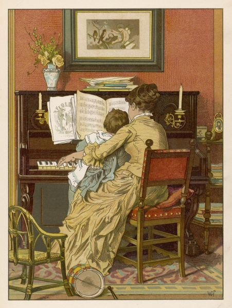 Mother and child at the piano