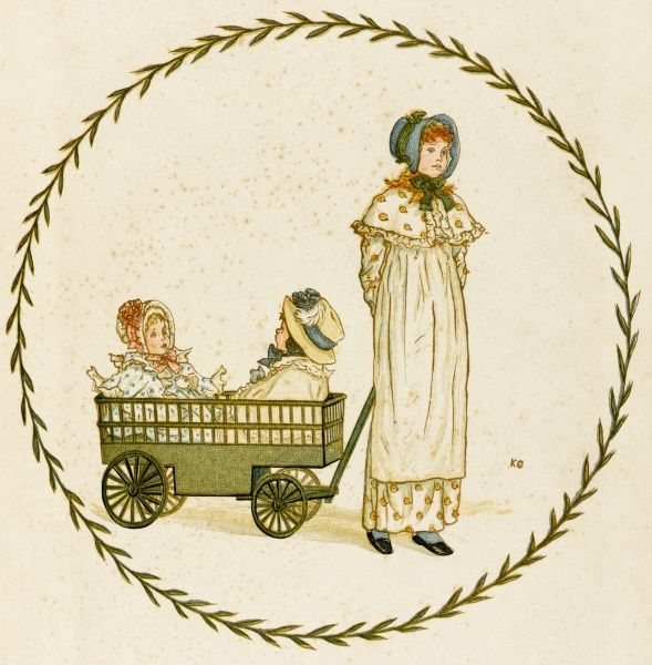 A Victorian mother takes her two small children for a journey, pulling them behind her in a small cart
