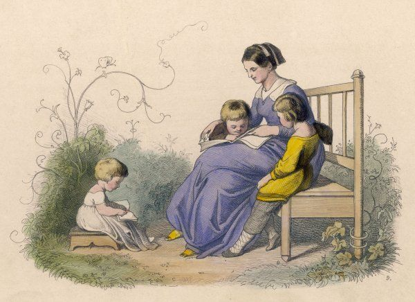 A mother sits on a bench in the garden while her children read their books