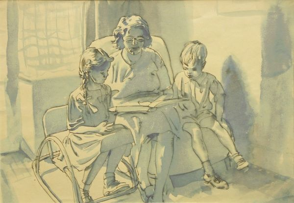 A Mother reads a story to her children. Delightful watercolour sketch by Raymond Sheppard