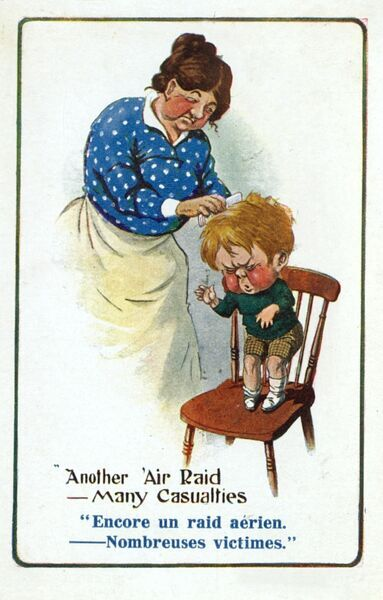 """Another 'Air Raid - Many Casulaties...!"" A Mother searching for headlice in a boy's hair with a large comb. The lad seems to be finding the whole experience singularly unpleasant. Date: circa 1910s"