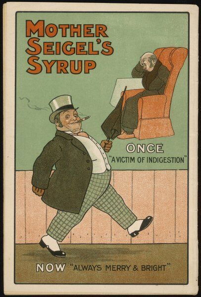 'Once - a victim of indigestion : Now - always merry and bright !' - thanks to Mother Seigel's Syrup