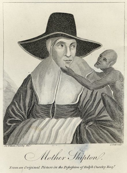 'MOTHER SHIPTON', (nee Ursula Sontheil), famous prophetess of Knaresborough, Yorkshire, depicted with a familiar