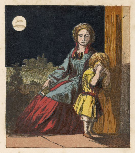 Victorian mother and son who is reluctant to go to bed and crying