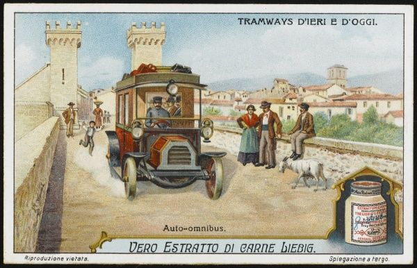 Although included in a series of tramways, this is not a tram but an 'auto-omnibus', depicted at the Porta Garibaldi at Terni, Italy