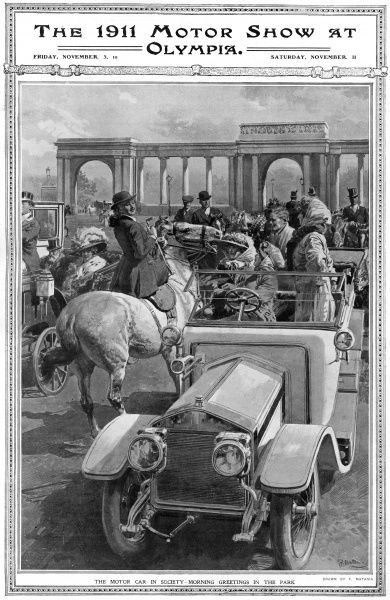Society meeting in Hyde Park, London in 1911, some on horseback, others in shiny new motorcars. Illustration to accompany a supplement in The Sphere reporting on the Olympia Motor Show. Date: 1911