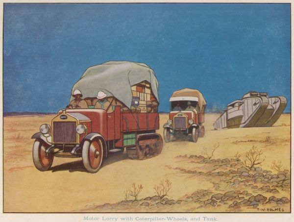 A motor lorry with caterpillar wheels crossing the desert with supplies in Egypt during World War One. Close by is a tank which uses the same type of mechanism to travel
