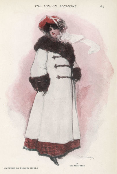 Fashionable motoring wear for a modern girl includes a warm fur lined double-breasted coat with fur collar & cuffs & fastened with brandenburgs. Her hat has a protective veil