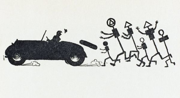 A man speeds off in his car, chased by a series of road signs. Illustration by William Heath Robinson. Please note: Credit must appear as (c) Courtesy of the estate of Mrs J.C.Robinson/Pollinger Ltd/Mary Evans Picture Library