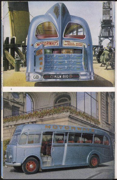 'See Europe from an Armchair' - exterior of a Motorways pullman saloon, rear and side views. Each passenger was given their own trunck for convenience in packing
