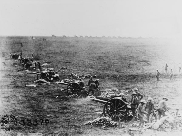 British 18 pounder gun batteries in action at Moulain on the Western Front in France during World War I in October 1918