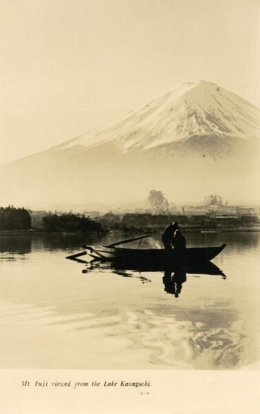 A fine photographic postcard view of Mount Fuji, Japan - viewed from Lake Kawaguchi Date: circa 1920s