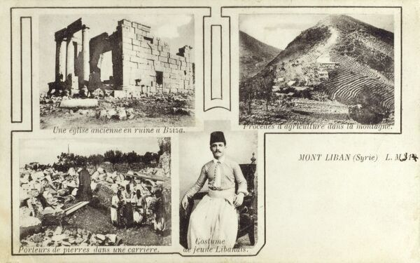 Mount Lebanon, Lebanon with terraced field systems on the mountain's slopes - also featuring a photograph of a young Lebanese man, the ruins of an ancient church at Bziza and stone carriers at work in a mine. Date: circa 1906