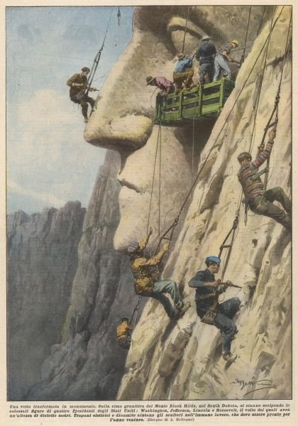 Supervised by Gutzon Borglum, Mount Rushmore, in the Black Hills of South Dakota, is carved with the faces of Washington, Jefferson, Lincoln and T Roosevelt, 1927 - 1941