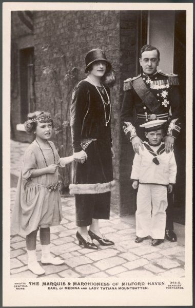 GEORGE OF BATTENBERG 2nd MARQUESS OF MILFORD HAVEN Brother of Lord Louis Mountbatten with his wife Tatiana and two children