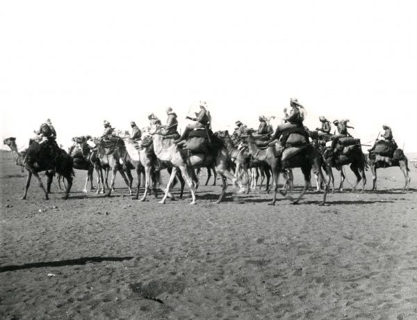 Mounted infantry in the desert during the First World War. Date: 1914-1918