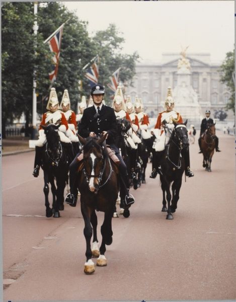 Mounted Metropolitan Police officer on a horse leading a parade of horseguards down The Mall in London