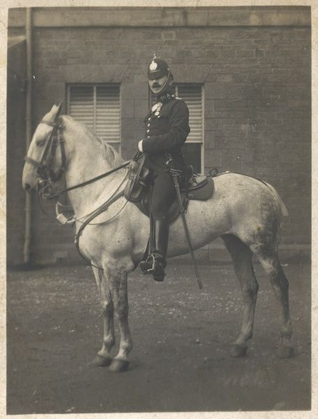A policeman mounted on a grey horse