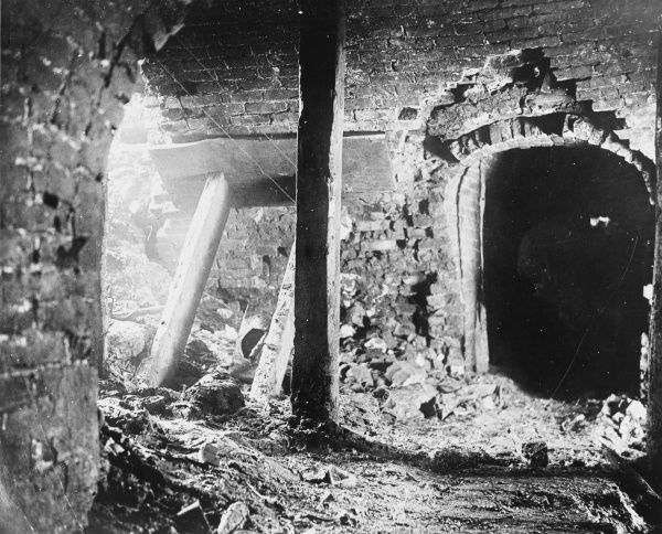 The dug-outs under Mouquet Farm, Somme, in France on the British front during World War I in February 1917