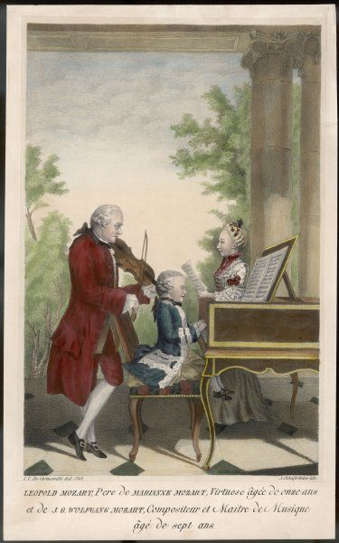 WOLFGANG AMADEUS MOZART The Austrian composer at the age of seven, with his sister Marianne, aged eleven, and their father Leopold, in 1764